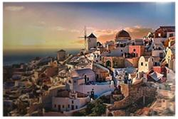 Oia village in Santorini island Sunrise / Sunset Jigsaw Puzzle