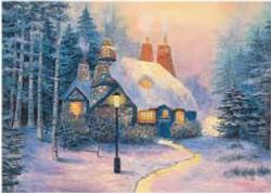 Winter's Eve Cottage / Cabin Jigsaw Puzzle