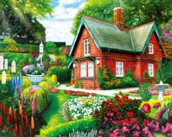 Summer Cottage Garden Jigsaw Puzzle