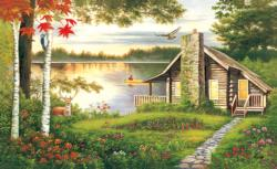 Misty Lake Cottage Landscape Jigsaw Puzzle
