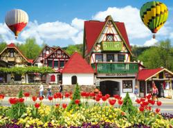 Hot Air Balloons Over Helena, Georgia Landscape Jigsaw Puzzle