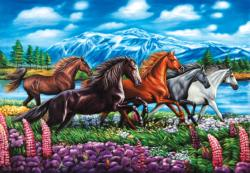 Running Horses Mountains Jigsaw Puzzle