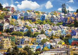 Colorful San Francisco Houses (Colorluxe 1500) San Francisco Jigsaw Puzzle