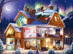Santa on the Roof Snow Jigsaw Puzzle