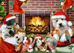 Christmas by the Fire Bunnies Jigsaw Puzzle