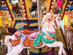 Colorful Wooden Carousel Horses Jigsaw Puzzle