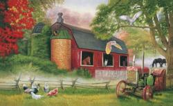 Barnyard Gathering Chickens & Roosters Jigsaw Puzzle