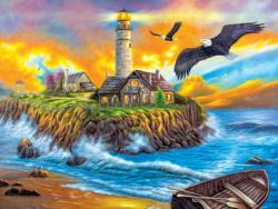 Sunset Cove Lighthouse Sunrise/Sunset Jigsaw Puzzle