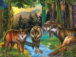 Forest Wolves Forest Jigsaw Puzzle