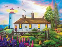 Cozy Inn Lighthouse Sunrise/Sunset Jigsaw Puzzle
