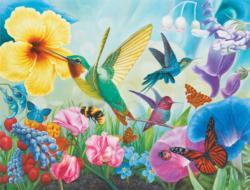 Hummingbird Garden Flowers Jigsaw Puzzle