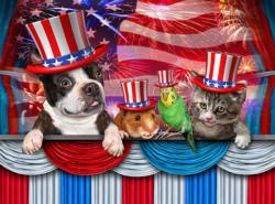Pets Love America Flags Jigsaw Puzzle