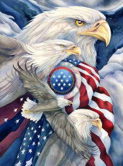 American Eagles Flags Jigsaw Puzzle