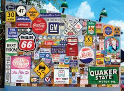 Old Ad Signs, Road Signs, and Vehicle License Plates on Route 66 Everyday Objects Jigsaw Puzzle