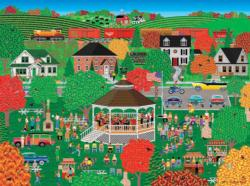 Autumn Band Concert Folk Art Jigsaw Puzzle