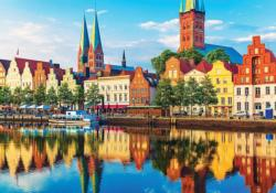 Scenic Summer Sunset Lubeck Germany Germany Jigsaw Puzzle