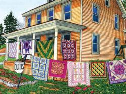 Quilts Nine on the Line, Lancaster PA Garden Jigsaw Puzzle