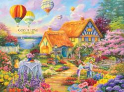 Spring in Grandma's Garden (Inspirations 1000) Cottage / Cabin Jigsaw Puzzle