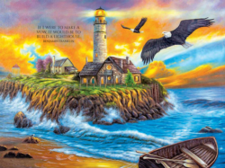 Sunset Cove Lighthouse Sunrise / Sunset Jigsaw Puzzle