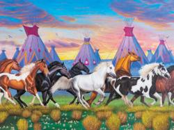 Indian Ponies Horses Large Piece