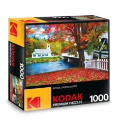 KODAK Premium Puzzles - Covered Bridge Crossing River to Church, Stark, New Hampshire Photography Jigsaw Puzzle