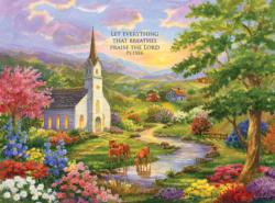 Serenity - with Inspirational Quote Churches Jigsaw Puzzle