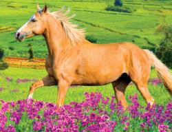 Horse Running in Field of Purple Flowers Flowers Jigsaw Puzzle
