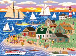 Beach Bonfire Gathering Seascape / Coastal Living Jigsaw Puzzle
