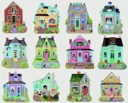 Sweet Cottages I Cottage / Cabin Shaped Puzzle