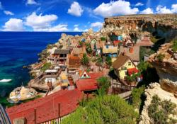 Famous Popeye Village at Anchor Bay, Malta Seascape / Coastal Living Jigsaw Puzzle