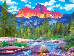 Tetons Alpenglow, Grand Tetons, WY Mountains Jigsaw Puzzle