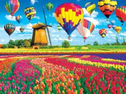 Balloons Over a Tulip Field and Windmill Photography Jigsaw Puzzle