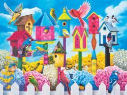 Birdhouse Row Flowers Jigsaw Puzzle
