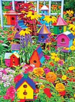 Colorful Palette: Birdhouses and Flowers Flowers Jigsaw Puzzle