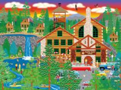 Dozing Bear Lodge Forest Jigsaw Puzzle