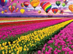 Sunset Balloons Over Tulip Field Sunrise / Sunset Jigsaw Puzzle