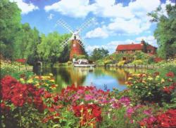 Hunsett Mill And The River Ant, Norfolk, England United Kingdom Jigsaw Puzzle