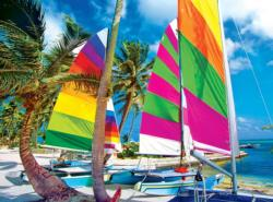 Colorful Sailboats On A Beach Boats Jigsaw Puzzle