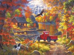 Lake Cottage Retreat Cottage / Cabin Jigsaw Puzzle