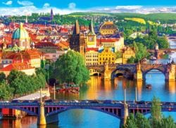 Scenic Old Town Bridges over the Vltava River Prague Czech Republic Europe Jigsaw Puzzle