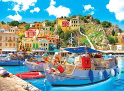 Symi With Boats In The Harbor, Greece Seascape / Coastal Living Jigsaw Puzzle