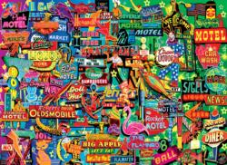 Retro Neon Signs Everyday Objects Jigsaw Puzzle