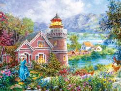 Lighthouse Morning in Spring Flowers Jigsaw Puzzle