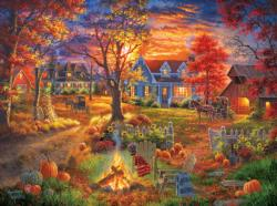 Autumn Village Domestic Scene Jigsaw Puzzle