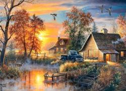 Autumn Mist Sunrise / Sunset Jigsaw Puzzle