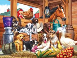 Barnyard Puppy Pals - Scratch and Dent Chickens & Roosters Jigsaw Puzzle