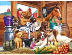 Barnyard Puppy Pals Chickens & Roosters Jigsaw Puzzle