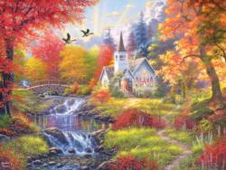 Woodland Church Waterfalls Jigsaw Puzzle