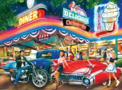 Rollerskate Drive-in Theatre Nostalgic / Retro Jigsaw Puzzle
