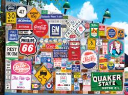 Old Ad Signs, Road Signs and License Plates Collage Jigsaw Puzzle